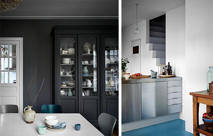 Grå möbler mot en grå vägg, både i samma och olika nyanser framhäver möblernas design.