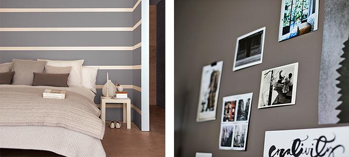 En grå vägg ramar in kort och förstärker dess intryck. Ränder i grått och vitt gör väggen till ett konstverk.